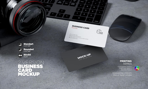 Fully editable horizontal front and back side business card templat