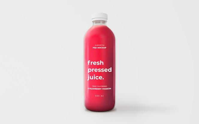 完全可编辑草莓汁玻璃瓶模型