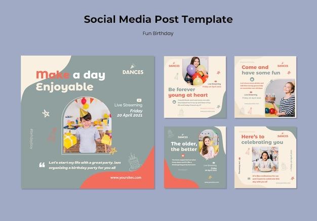 Fun birthday social media post template