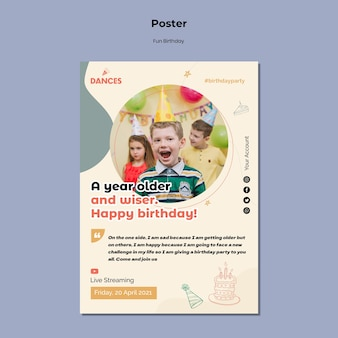 Веселый день рождения с шаблоном фото постера