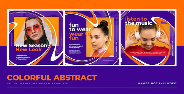 Fun colorful abstract social media  template
