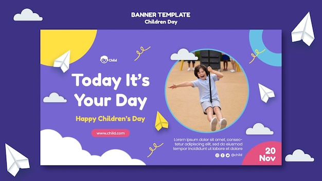 Fun colorful children's day horizontal banner template