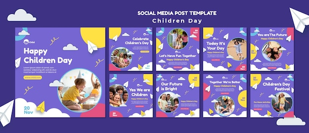 Fun colorful children's day ig posts collection