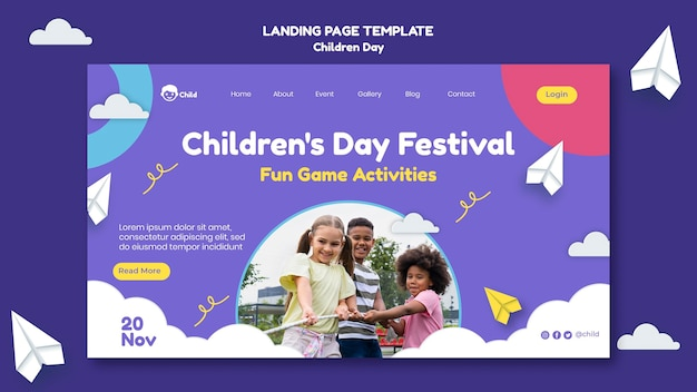 Fun colorful children's day landing page template