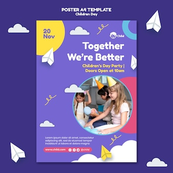 Fun colorful children's day print template