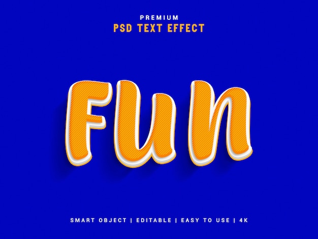 Fun psd text effect, 3d реалистичный шаблон, стиль текста.