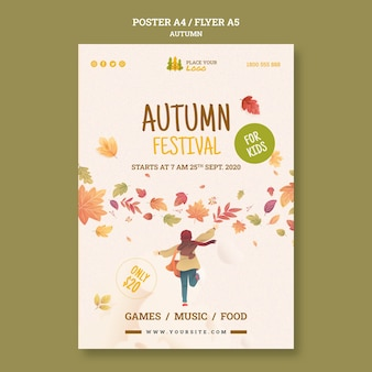 Fun time at autumn festival flyer template