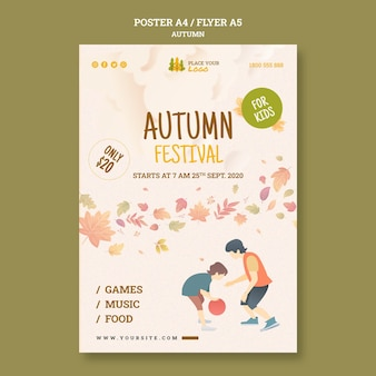 Fun time at autumn festival for kids flyer template