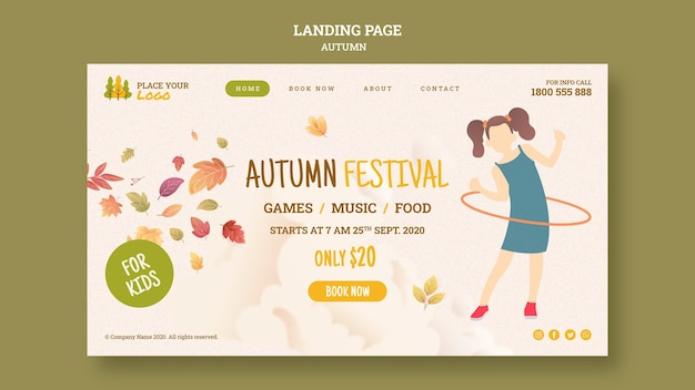 Fun time at autumn festival for kids landing page