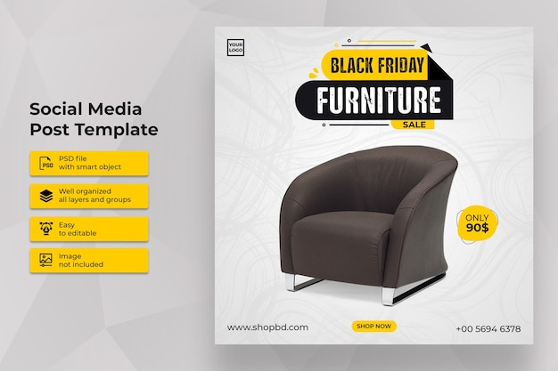 Funiture black friday sale social media post template