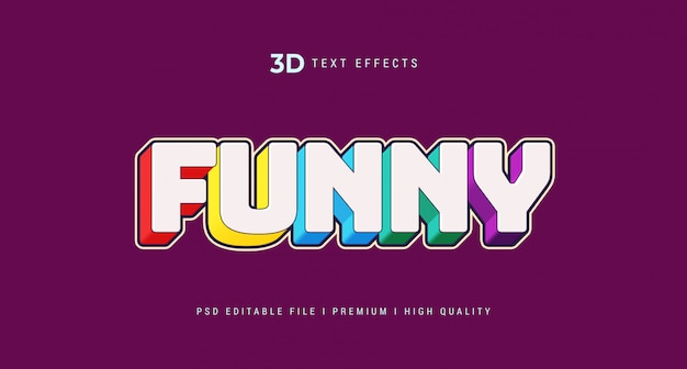 Funny 3d text style effect mockup