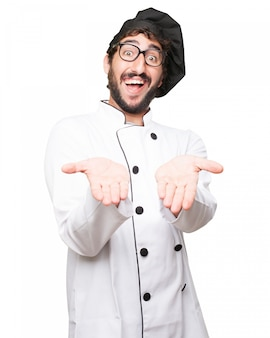 Funny chef with black hat