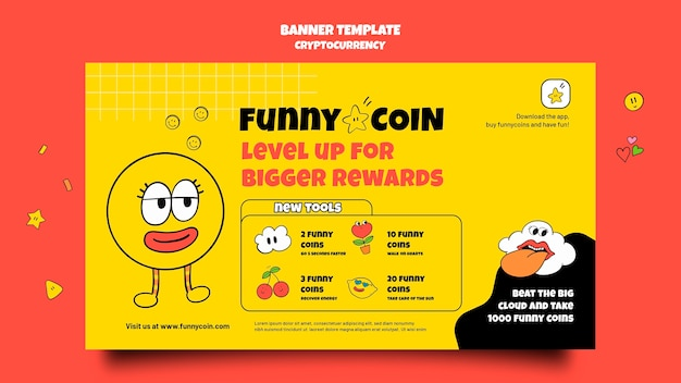 Funny coin cryptocurrency banner template