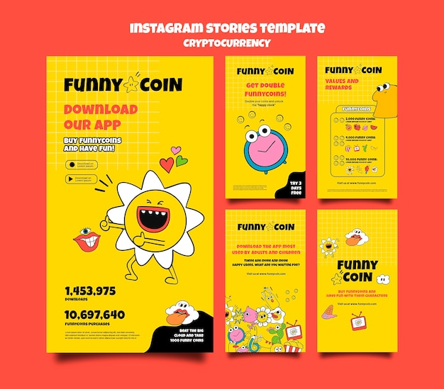 Funny coin cryptocurrency instagram stories