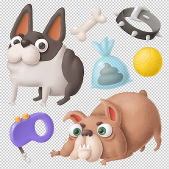 Funny dogs clipart set