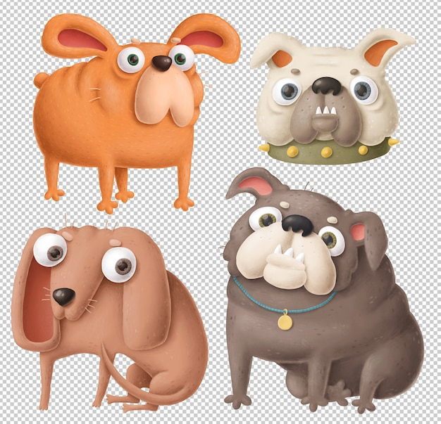 Funny dogs clipart