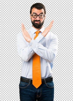 Funny man with glasses making no gesture