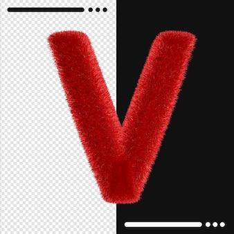 Мех и алфавит v в 3d-рендеринге изолированы