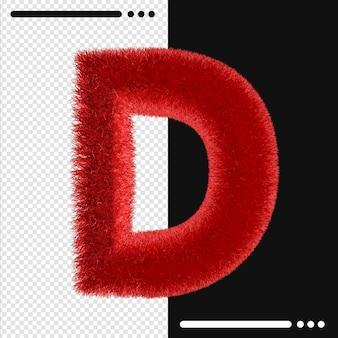 Мех дизайн алфавит d в 3d-рендеринге изолированные