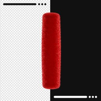 Мех дизайн алфавит i в 3d-рендеринге изолированные