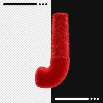 Меховой дизайн алфавит j в 3d-рендеринге изолированы