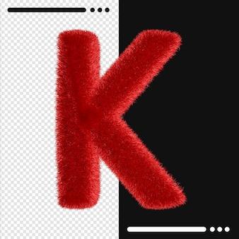 Меховой дизайн алфавит k в 3d-рендеринге изолированы