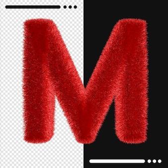 Мех дизайн алфавит m в 3d-рендеринге изолированные