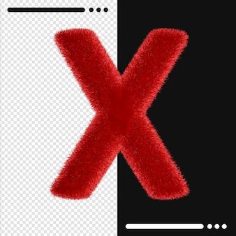 Мех дизайн алфавит x в 3d-рендеринге изолированные