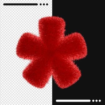 Меховой дизайн звездочка в 3d-рендеринге изолированы