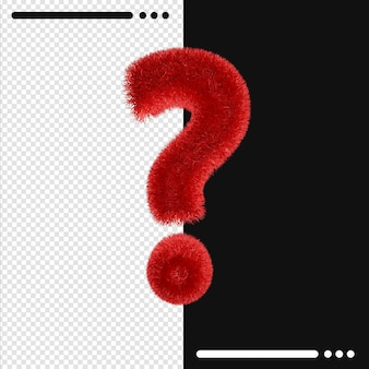 Fur design question mark in 3d rendering isolated