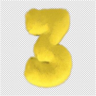 Fur number 3 illuminating color 3d rendering