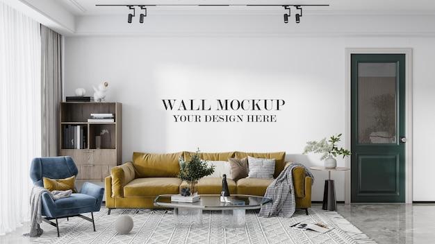 Furnished room wall mockup