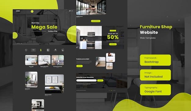Шаблон сайта интернет-магазина мебели и интерьера в темном режиме