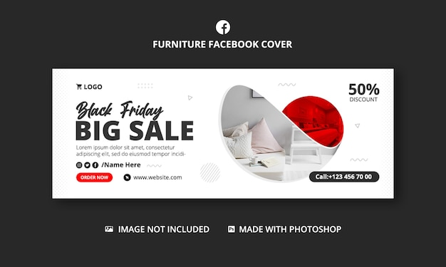 Furniture business facebook cover banner template design