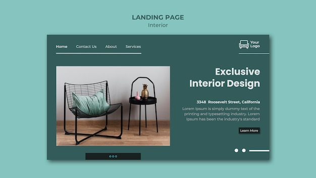 Furniture concept landing page template
