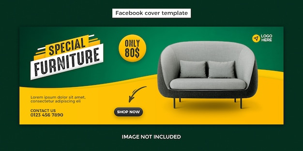 Furniture facebook cover design template with furniture sale