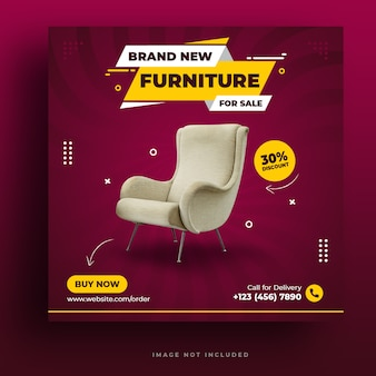 Furniture instagram post or social media banner premium psd