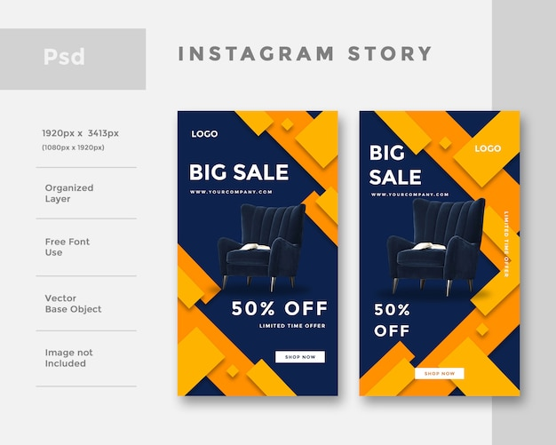 Furniture instagram story ad  template