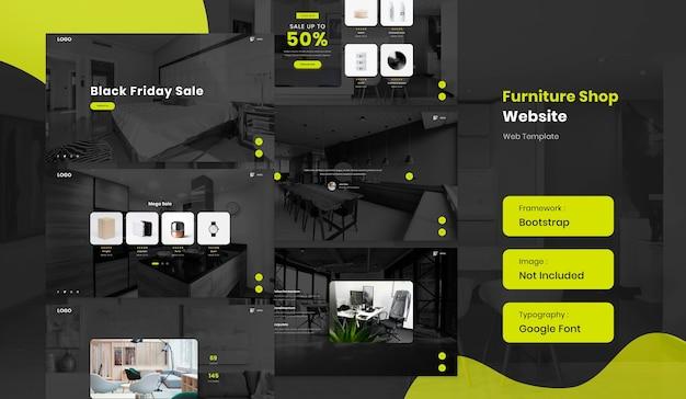 Furniture and interior online shop ecommerce website template in dark mode