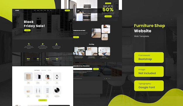 Furniture and interior online shop ecommerce website template