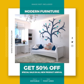 Furniture offer social media post template