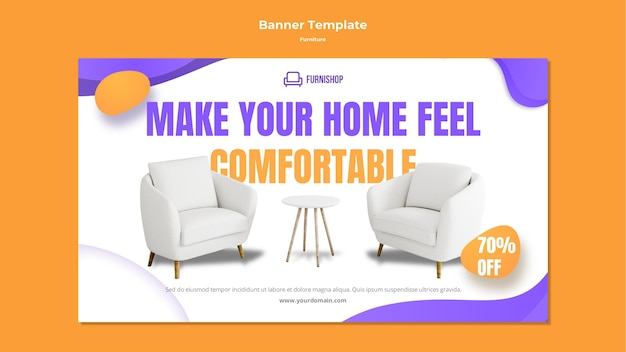 Modello di banner di vendita di mobili