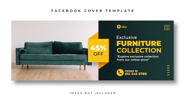 Furniture sale facebook cover web banner template