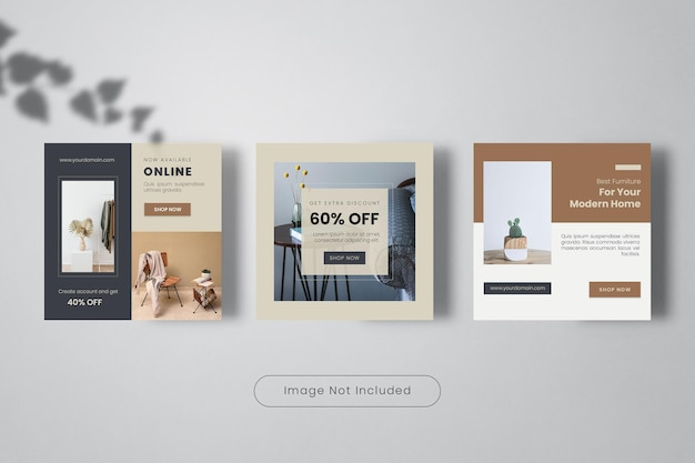Furniture  sale instagram post template banner collection