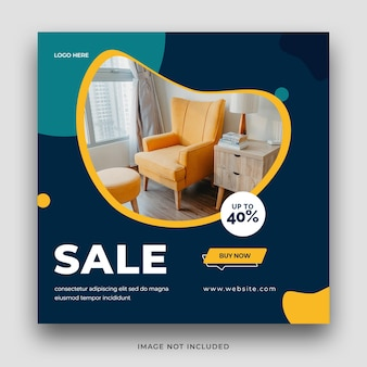 家具販売ソーシャルメディアバナーテンプレートデザイン