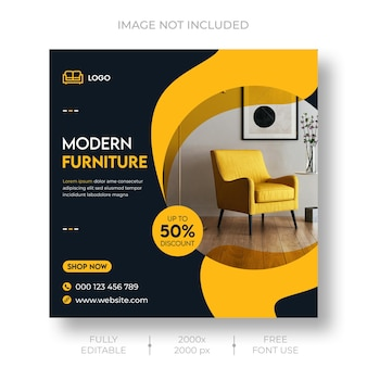 Furniture sale social media and instagram post template Free Psd
