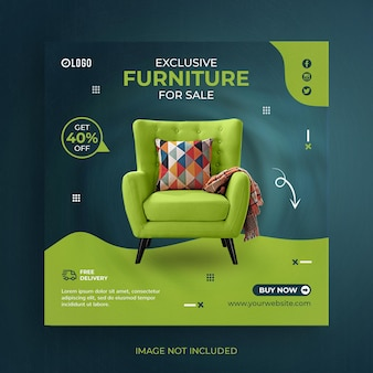Furniture sale social media post or square banner template