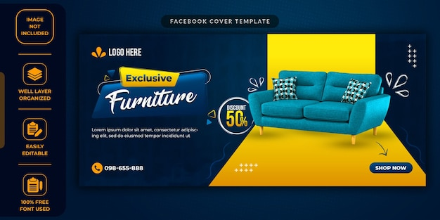 Furniture sale social media promotional template
