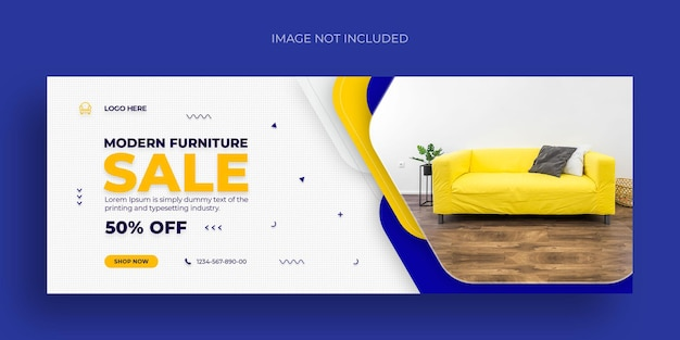 Furniture sale social media web banner flyer and facebook cover photo design template