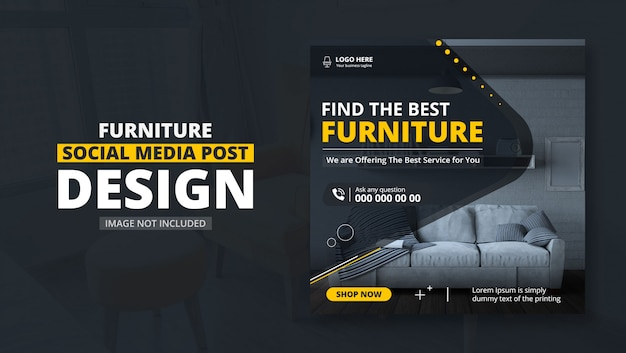 Furniture sale square flyer template